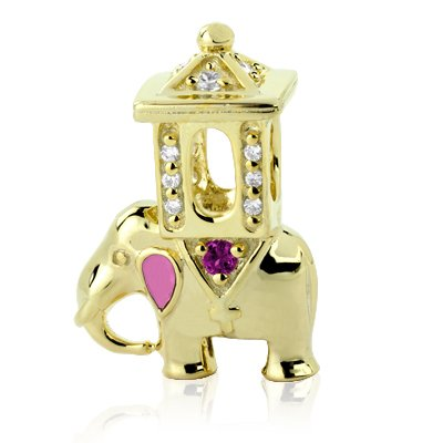 Yellow Gold Vermeil Sterling Silver Elephant Bead Charm with Garnet and Pink Enamel Ears