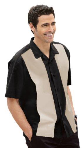 Retro Bowling Shirt, Black/Light Stone, (Mens Bowling Shirt)
