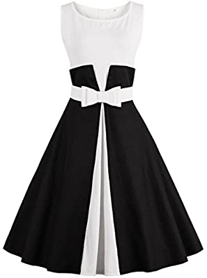 Ayli Women's Scoop Sleeveless 1950s Retro Vintage Hollywood Large Swing Midi Dress