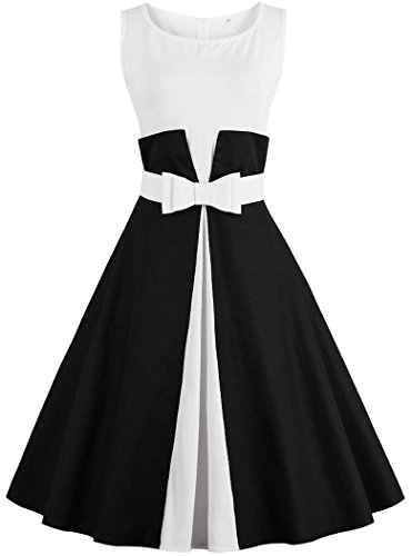 Ayli Women's Scoop Sleeveless 1950s Retro Midi Dress, Black and White, US-10/Tag-L/02w085 (Black And Retro White)