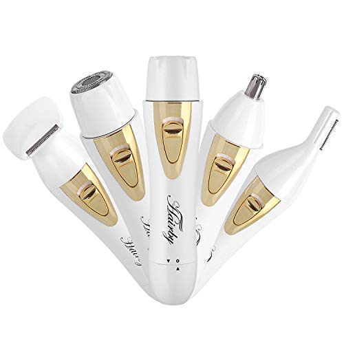 HAIRBY Painless Electric Shaver for Women - 4 in 1 Ladies Electric Epilator Kit with Facial Hair Shaver, Body Hair Shaver for Legs Underarms Bikini, Nose Hair Trimmer, Eyebrow Trimmer USB Rechargeable