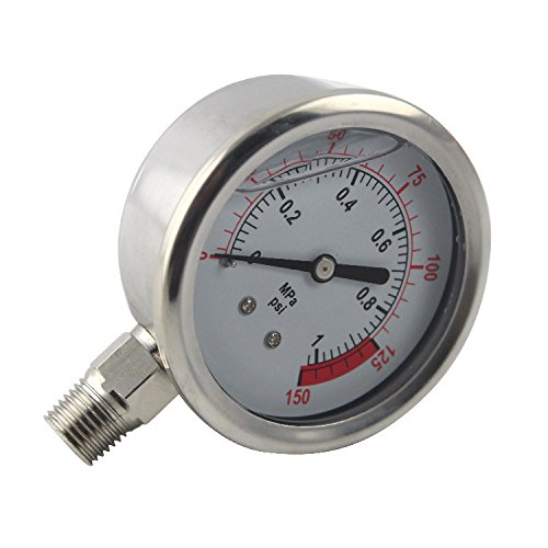 PureSec 2019 Glycerin/Liquid Filled RO Water Pressure Gauge/Meter with 1/4-inch Quick Fittings (0-1kg(MPa)/0-150psi)