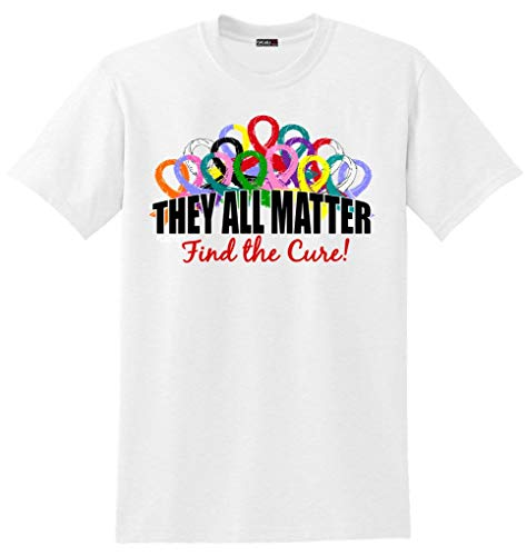 Fight Like a Girl They All Matter Cancer Awareness Ribbons T-Shirt Unisex White ()
