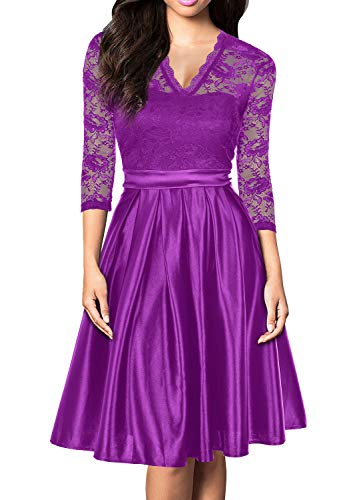 Mmondschein Women Vintage 1930s Style 3/4 Sleeve Green Lace A-line Party Dress Amaranth Red L