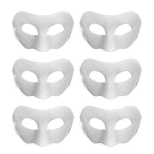 Aspire 6 PCS Blank DIY Masks Craft Paper Halloween Masquerade Face Mask Decorating Party -