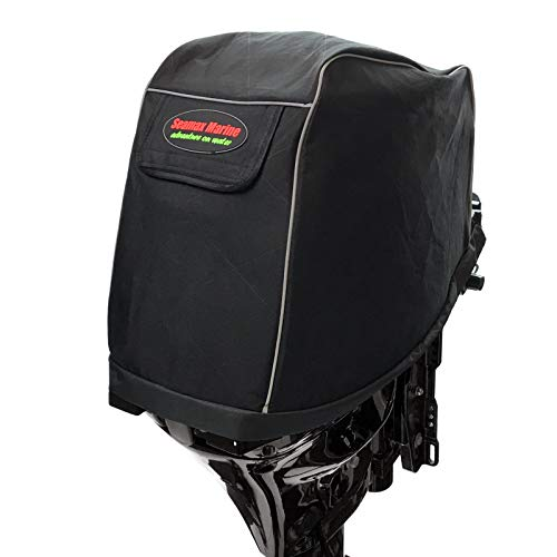 Universal Outboard Motor Cowling Cover with 3-Layers Welded Sunlitec Fabric and Reflective Edges (Size B - Girth 55