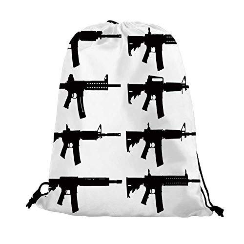 Black and White Nice Drawstring Bag,Set of Guns Silhouette Military Army Rifles Shotgun Sniper Firearms Weapon For traveling,17.7