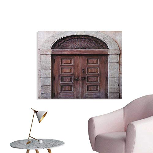 Anzhutwelve Rustic Wall Sticker Decals Arched Wooden Venetian Door with Eastern Royal Ottoman Elements European Culture Space Poster Brown Cream W36 xL32 ()