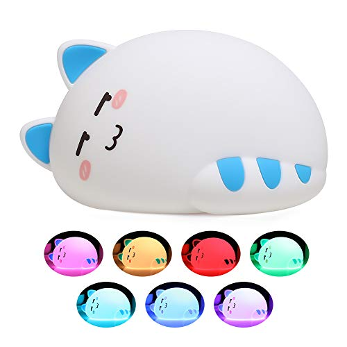 Night Lights for Kids, One Fire Baby Nursery Night Light, Cute Cat Soft Silicone Animal Kitty Lamp, Portable Breastfeeding Room Decor Nightlights for Children Toddler Teen Girls Boys Birthday Gifts