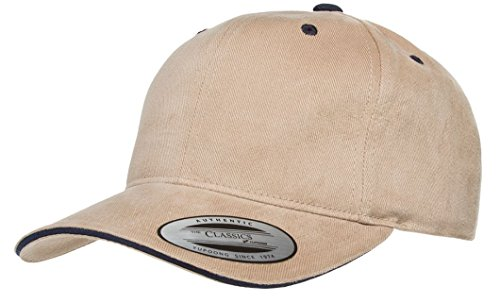 2040USA Flexfit Brushed Cotton Sandwich Visor Hat-6262SV (Khaki/Navy) Brushed Twill Sandwich