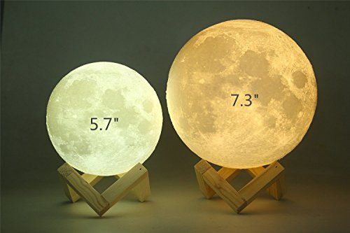 """AED 7.3"""" Large Moon Light, 3D Printing Moon Lamp with Touch Sensor Switch and Dimmable Brightness 2 Colors LED, USB Rechargeable Decorative Lunar Night Light for Kid"""
