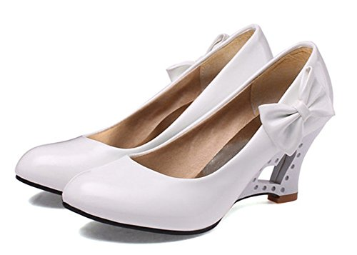 Easemax Womens Sexy Round Toe Low Cut Slip on Chunky Kitten Heart Heels Pumps Wedges Shoes with Bows White KJeHVVS