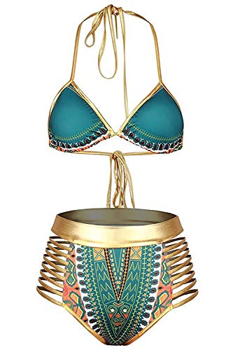 Century Star Women Sexy African Bikini Metallic Tribal Print Swimsuit Halter High Waist Cut Out Two Piece Bathing Suit Green-Gold Medium (fits Like US 4-6)