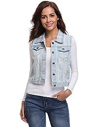 Womens Long Sleeves Washed Boyfriend Stretch Cropped Vintage 2 Western Pockets Jean Denim Jacket/Vest