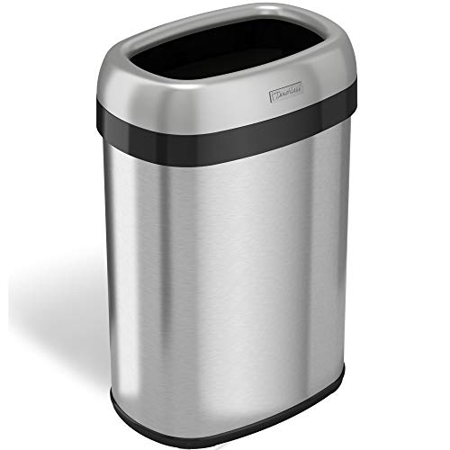 - iTouchless 13 Gallon Oval Top Trash Can and Recycle Bin Large 12-Inch Opening with Dual-Deodorizer, Commercial Grade for Home, Restaurant, Restroom, Office,