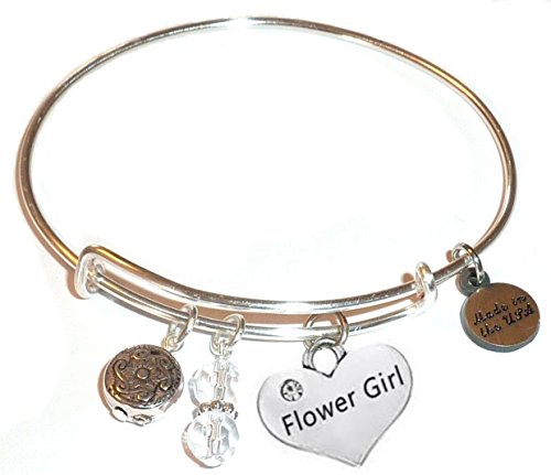 Message Charm (46 words to choose from) Expandable Wire Bangle Bracelet, in the popular style, COMES IN A GIFT BOX! (Flower Girl)