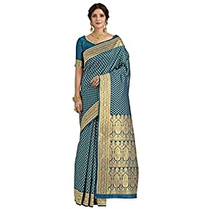 CLOTHAM Women's Banarasi Silk Saree With Blouse Piece (Kara133_Parent)