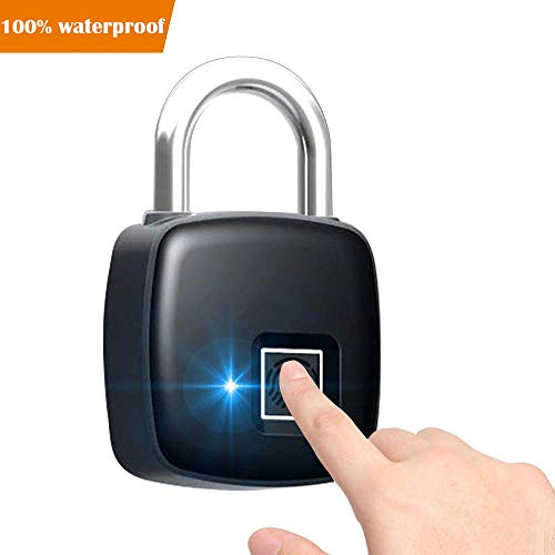 Smart Fingerprint Lock, TONBUX Waterproof Portable Security Lock Anti-Theft Padlock, Unlock Within 300mS, Suitable for House Door, Suitcase, Backpack, Gym, Bike, Office, Support USB Charging (Black)