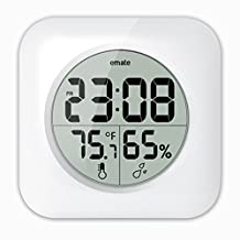 Emate LCD Waterproof Shower Clock, Wall Mounted, Suction Cups, Table Standing, Bathroom clock, Time, Temperature, and Indoor Relative Humidity Display
