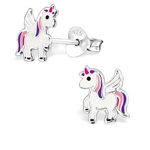 GH * alicorn Unicornio Pendientes 925plata caballo Niños niña pendientes Pegasus ch101oj