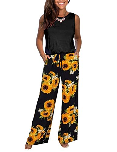 DAMISSLY Women's Floral Jumpsuit Sleeveless Round-Neck Loose Plain Casual Wide Leg Pant Rompers with Pockets (L, Yellow)