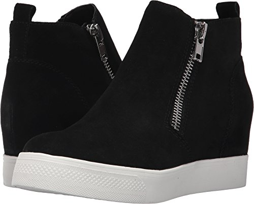 Steve Madden Women's Wedgie Sneaker, Black Suede, 8 M US (Shoes Sport Tops High)