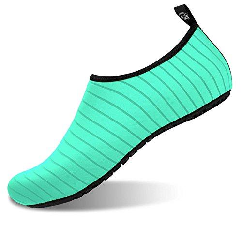 Barerun Womens Mens Outdoor Water Shoes Aqua Socks for Beach Swim Surf Yoga Sport Green Stripe