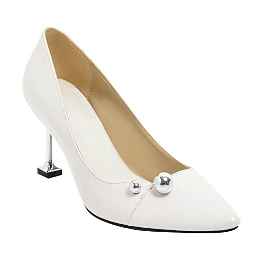 Carolbar Women's Charm Concise Pointed Toe High Heel Court Shoes White