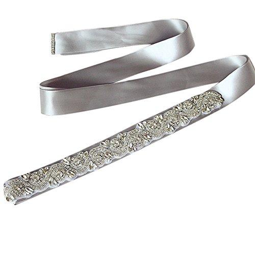 Sisjuly Women's Handmade Crystal Beaded Satin Bridal Sash Wedding Belt