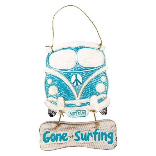 Gone Surfing Surf Sign - Gone Surfing, Surf's Up! Wood Sign With Rope Hanger 10.5 Inches x 6.5 Inches