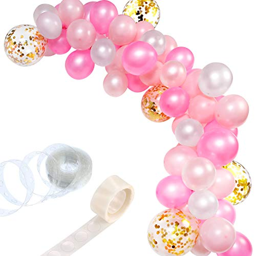Tatuo 112 Pieces Balloon Garland Kit Balloon Arch Garland for Wedding Birthday Party Decorations (White Pink Gold)