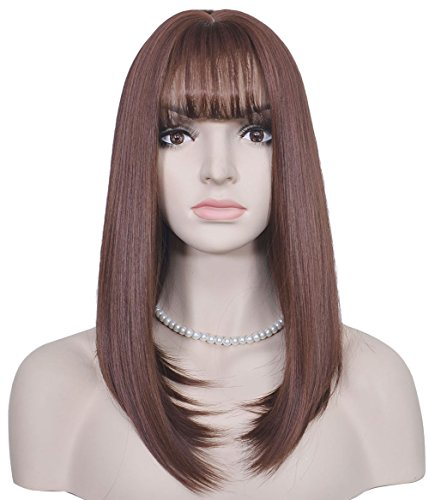 Diforbeauty Women Long Straight Heat Resistant Synthetic Hair Swept Bangs Glamour Wig for Daily Use Cosplay (Wine (2)