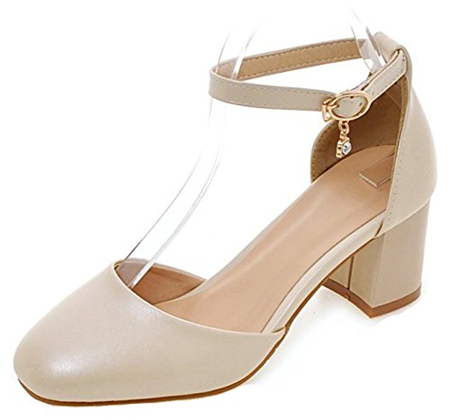 Square Toe Buckle - Aisun Women's Sexy Dressy Buckle Strap Square Toe D'Orsay Chunky Mid Heel Pumps Shoes with Ankle Strap (Beige, 4 B(M) US)