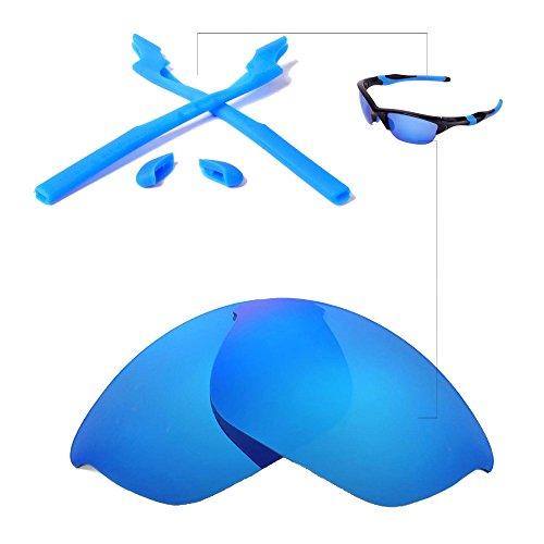 - Walleva Polarized Lenses and Rubber Kit(Earsocks+Nosepads) for Oakley Half Jacket 2.0 Sunglasses - Multiple Options Available(Ice Blue Coated Polarized Lenses + Blue Rubber)