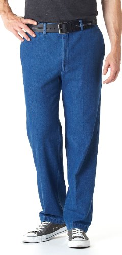 (32 inch Inseam Haggar Work - to - Weekend Flat - front Pants, Denim, 38)