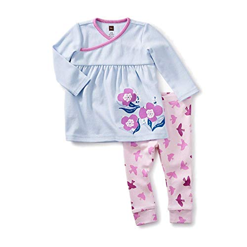 (Tea Collection Graphic Dress Outfit, Vista Blue, Blue Dress with Pink Pants (6-9 Months))