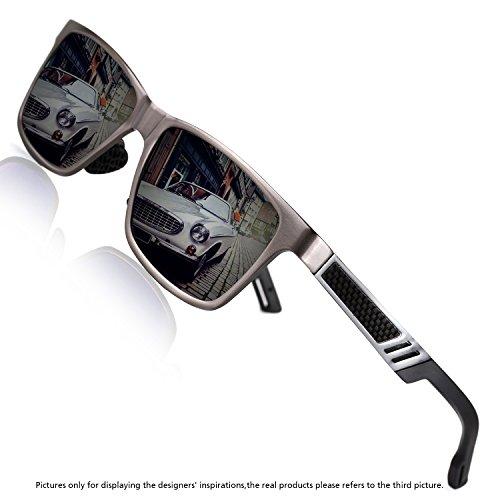Rocknight Polarized UV Protection Men's Sunglasses Wayfarer Full Frame Grey Flat Mirror Lens Outdoor Fashion - Golfing Glasses