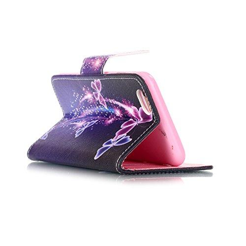 iPhone 6 Plus/6S Plus 5.5 Funda Cáscara de Cuero Sintético(con Gratis Pantalla Protector),KaseHom Prima Flip Libro Estilo Cartera Case Interior Azul y Rojo Dura TPU Silicona Bumper Ranuras para tarje Rosa y Púrpura Mariposa Transparente