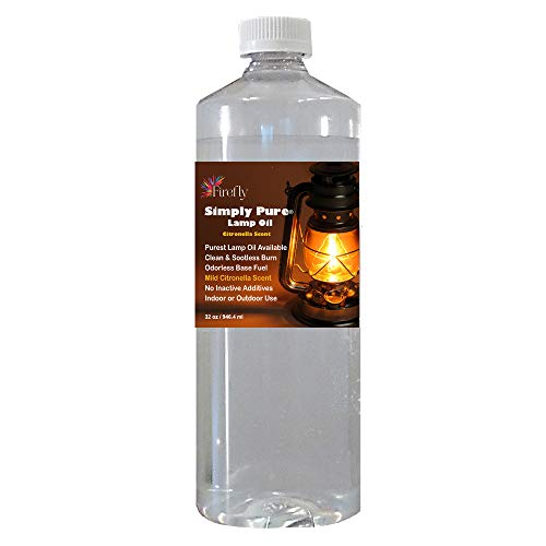 Firefly Citronella Scented Lamp Oil - 32 oz - Odorless Base & Smokeless- Ultra Clean Burning Paraffin Oil with Citronella Oil