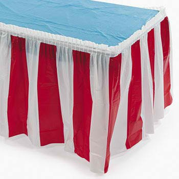 Fun Express Striped Table Skirt, Red/White (1 Piece) Carnival & Event Party Supplies, Birthday Decorations, Patriotic Decor, 14 Feet x 29 Inches