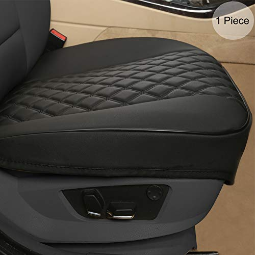 "Black Panther PU Car Seat Cover, Front Seat Protector Compatible with 90% Vehicles,Diamond Pattern Embroidery,Anti-Slip & Full Wrapping Edge (W 21.26''×D 20.86"")(1Piece,Black)"