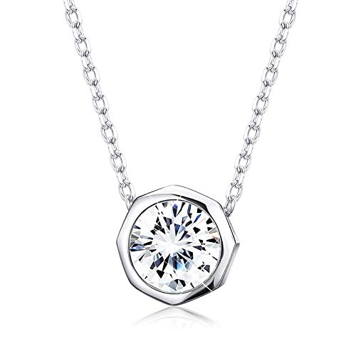 (Sllaiss Sets With Swarovski Zirconia Sterling Silver Solitaire Pendant Necklace for Women Round-Cut CZ Necklace Chain Jewelry Gift (2 cttw), 18'')