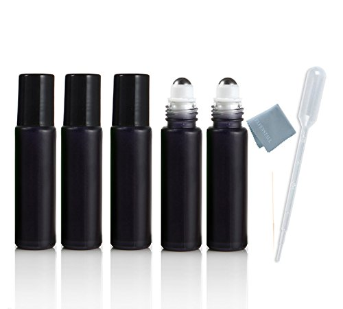 Simple-e- 5pcs 10ml (1/3oz) Glass Roll on Cool Black Colorful Stainless Steel Roller Ball Essential Oils Perfume Heavy Thick Glass Bottles Black Cap Stainless Steel Roller Free Gift Epacket Shipping