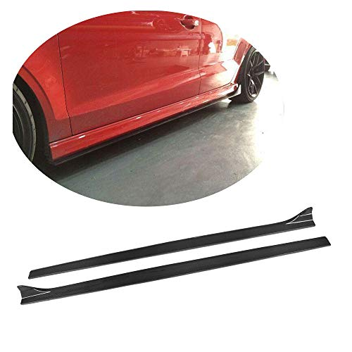MCARCAR KIT S3 Side Skirts, Add-on Carbon Fiber Side Skirts for Audi A3 Sline &S3 Sedan | 2014 2015 2016 Under Rocker Panels Valance Lip Splitter Extension Trims