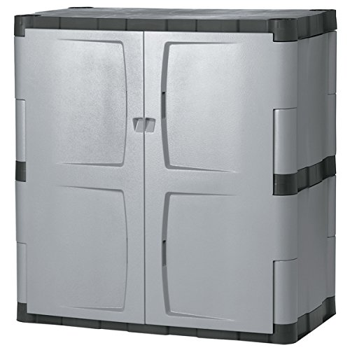 Rubbermaid Commercial Grey/Black Double-door Storage (Pine Cabinet Doors)