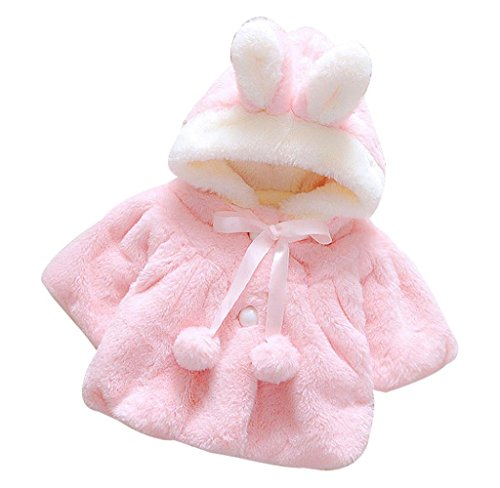 Dress Coat,Tosangn Baby Girl Plush And Cute Fur Bunny Ears Bowknot Hooded Thick Warm Dress Coat For Dressy, Everyday, Holiday (Age:18-24months, (Hooded Silk Coat)