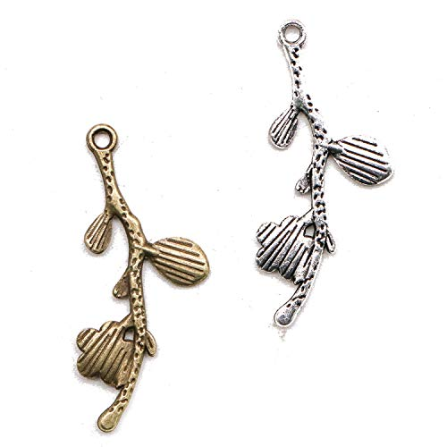 (JETEHO 100Pcs Vintage Branch Flower Charms Pendant Branch Connector Charms for DIY Jewelry Making, Antique Silver Antique Green, 1.6