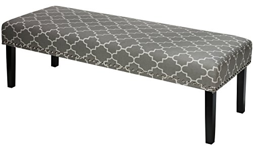 Cortesi Home Farrah Bed Bench, Grey Fabric with Nailhead Trim by Cortesi Home