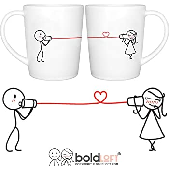 BOLDLOFT Say I Love You His and Hers Coffee Mugs- Couple Mugs Set, Girlfriend Gifts, Wife Gifts, Romantic Gifts for Her, Anniversary Gifts for Her, Wedding Gifts for Couple, Couples Gifts, Love Gifts