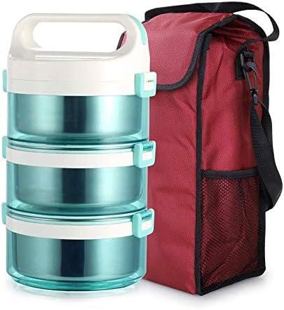 TYUIO 健康のためのバッグや再利用可能な食器セットの熱食品保存容器(3層)とのランチボックス漏れ防止のステンレス鋼スタッカブルランチボックス (Color : Blue)